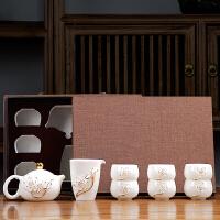 唐丰白瓷茶具套装家用客厅描金功夫泡茶器礼盒装简约现代整套