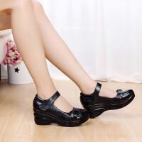 坡跟鞋女鞋妈妈鞋单鞋高跟鞋休闲鞋层底简洁舒适防水台真皮浅口皮鞋