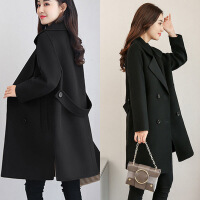 女士秋冬新款宽松显瘦毛呢外套女中长款小个子呢子大衣韩版上衣女