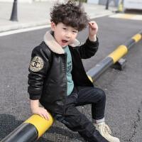 童装男童冬装加厚外套2018新款韩版宝宝皮衣秋冬儿童加绒夹?#25628;?#27668;