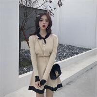 晚秋洋气冬裙心机显瘦赫本风御姐女神范网红毛衣裙子两件套装秋冬 杏色