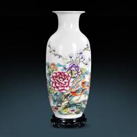 陶瓷器花瓶客厅摆件插花器富贵竹现代中式家居装饰品大号 锦堂富贵 冬瓜瓶+塑料底座