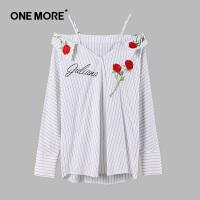 【10.23超品日 2折价:90】ONE MORE2019夏季新品吊带露肩性感刺绣条纹上衣女长袖衬衫
