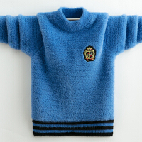 男童秋冬季加绒毛衣中大童新款套头针织衫儿童洋气圆领毛衣
