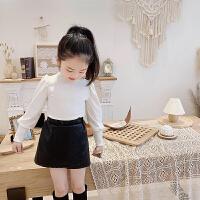 女童长袖T恤秋款小女孩泡泡袖儿童宝宝宫廷风打底衫上衣