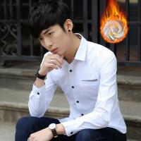 冬季男士青年加绒加厚长袖衬衫新款潮流韩版修身保暖衬衣休闲寸衫