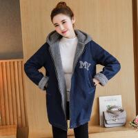 新中长款韩版小香风加绒厚羊羔毛牛仔外套女士秋冬季宽松上衣