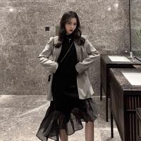 套装女复古chic千鸟格休闲西装外套网纱拼接长袖鱼尾连衣裙两件套