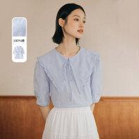 【直降到手价199元】茵曼灯笼袖衬衫女短袖2021年秋季新款花边尖领甜美雾蓝色衬衣纯棉【F1813677】