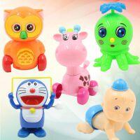 卡通儿童上链发条玩具会跑动物宝宝玩具婴幼儿益智学爬玩具组合套 猫头鹰+Q鹿+八爪鱼+机器猫+娃 颜色随机