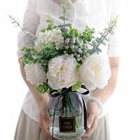 牡丹花假花 仿真牡丹花玫瑰花束婚庆家居客厅落地花瓶装饰假花绢花插花摆件A 白色 雅白配花+花瓶