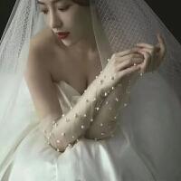 新款新娘结婚手工钉珠白色蕾丝手套旅拍摄影防晒网纱婚纱手套长款 白色钉珠手套