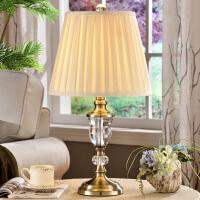 欧式水晶台灯奢华卧室床头灯美式复古铜客厅台灯婚庆装饰简约现代