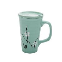 马克杯北欧情侣水杯粉色少女心大理石纹陶瓷杯子咖啡杯带盖