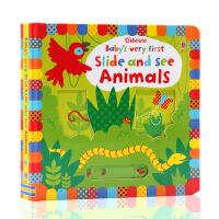 英文原版绘本Usborne Baby's Very First Slide and See Animals 动物 宝宝的