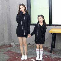 母女装外套亲子装秋装卫衣2018新款韩版母女装中长款外套中大童女童纯色卫衣MYZQ87