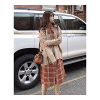 时尚套装女秋冬新款法式格子衬衫连衣裙宽松V领毛衣休闲外套 均码