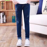 女童裤子秋季儿童中大童12岁15韩版长裤牛仔裤加绒加厚冬深蓝色软