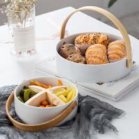 陶瓷水果沙拉碗现代简约客厅糖果零食收纳篮家用可手提水果盘分格