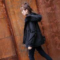 棉袄女新款韩版学生短款时尚棉衣宽松百搭冬季外套大毛领 黑色真毛领 S