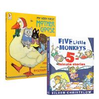 廖彩杏推荐2本套装 Five Little Monkeys 五只猴子 my very first mother goose鹅妈妈童谣 英文原版绘本 送音频