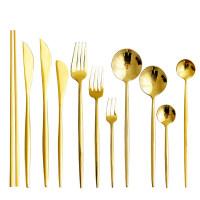【优选】金色不锈钢刀叉套装西餐牛排刀叉家用网红叉子勺子筷子餐具三件套