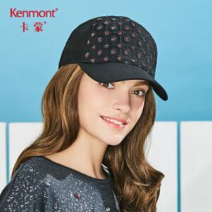 卡蒙女款棒球帽透气网黑色鸭舌帽女格子个性黑镂空时尚太阳帽遮阳3637