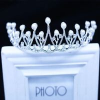 儿童头饰皇冠女童发饰银色公主王冠水晶模特走秀演出生日女孩饰品MYZQ53 图片色