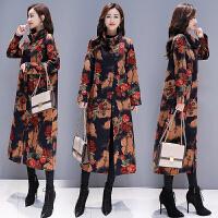 冬装新款民族风女装复古保暖加绒加厚宽松大码中长款棉麻风衣外套