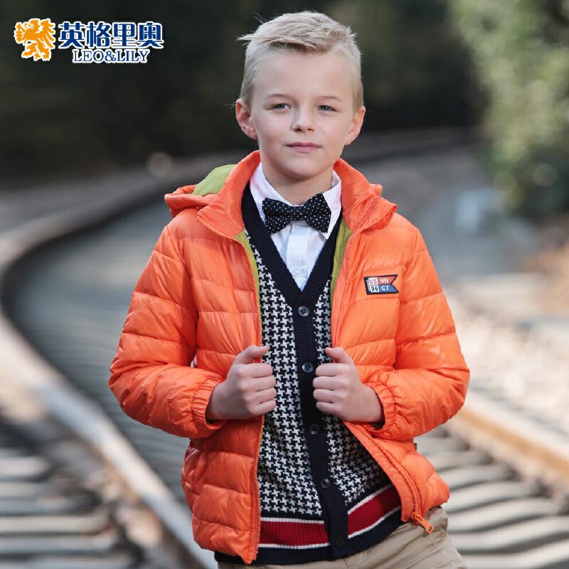 英格里奥童装冬装儿童羽绒服男童中长款韩版羽绒服LLB1747全场每满200减100 最高减300