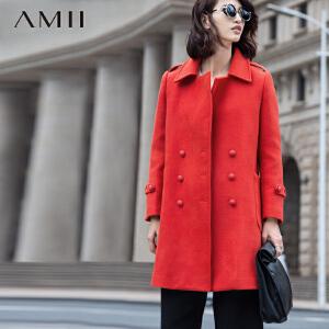 AMII[极简主义]冬翻领直筒插袋双排扣羊毛呢子外套11581456
