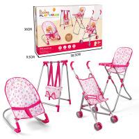 儿童四合一可折叠宝宝高脚餐椅玩具秋千座椅手推车睡床带娃娃