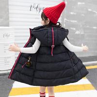 女童棉马甲中大童秋冬季外穿洋气儿童加厚背心女孩坎肩中长款冬装