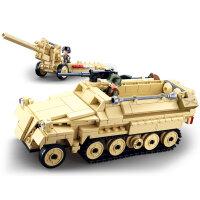 快乐小鲁班二战系列坦克战车男孩积木玩具拼装军事履带装甲车模型