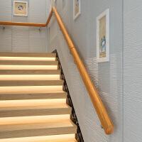 靠墙木楼梯扶手实木欧式家用幼儿园老人室内别墅阁楼复古扶手简约