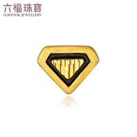 六福珠宝黄金耳钉盾牌电黑金单只耳钉男女款正品定价HGA1TBE0005