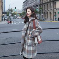2018冬季新款女装韩版宽松学院风格子呢大衣复古毛呢外套加棉加厚 图片色