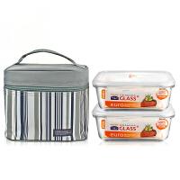 乐扣乐扣保鲜盒套装 耐热玻璃LLG429S901 微波炉碗饭盒冰箱收纳盒 740mlX2+灰色餐包