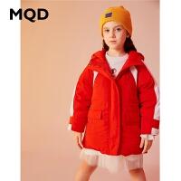 【1件3折:480】MQD童装女童羽绒服2019冬季新款连帽长款工装保暖儿童外套90绒潮