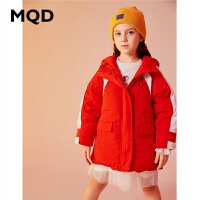 MQD童装女童羽绒服2019冬季新款连帽长款工装保暖儿童外套90绒潮
