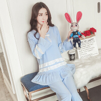 哺乳睡衣夏季花边大码孕妇产后喂奶衣外穿韩版宽松透气月子服ZT-08