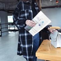 加绒衬衫女长袖2018秋冬新款大码女装宽松加厚中长款格子衬衣外套 M 85-100斤
