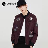 【特】gxgjeans男�b秋款紫色休�e�N布�C�A克外套潮63621103