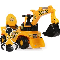 挖掘机可坐可骑3-6岁儿童电动滑行男孩玩具车挖土机大号学步钩机工程车 电动 带音乐-安全帽-抓手-后框 + 备用电瓶