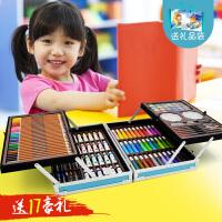 儿童益智绘画文具礼盒套装画画玩具画笔蜡笔水彩笔小学生礼物 双开铝合金145件套装蓝+礼品袋 买一送十七