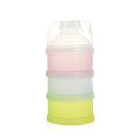 W婴儿奶粉盒外出便携带便携式单个两用储奶盒外带零食分装盒米粉盒O 彩色三层