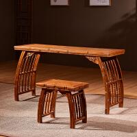 【热卖新品】中式琴桌实木家具古琴桌凳小书桌古筝矮架木琴台 1.0米竹节琴桌两件套 整装