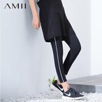 Amii[极简主义]春夏轻运动松紧条纹织带拼大码打底裤11670489