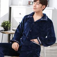 法兰绒男士睡衣两件套秋冬季珊瑚绒加厚青年加大码长袖家居服套装