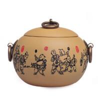 陶瓷故事 宜兴紫砂茶叶罐 印花童戏醒茶罐 普洱储存罐 茶道配件